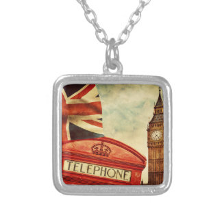 Red telephone booth and Big Ben in London, England Silver Plated Necklace