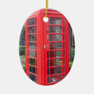 Red telephone box ceramic oval decoration