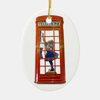 Red Telephone Box for Oval Ornament