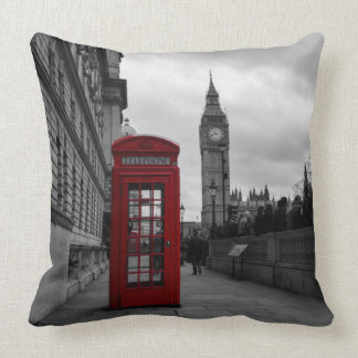Red telephone box in London throw pillow