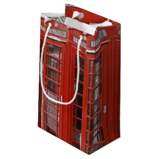 Red telephones near Big Ben Small Gift Bag