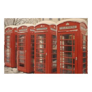Red telephones near Big Ben Wood Wall Art
