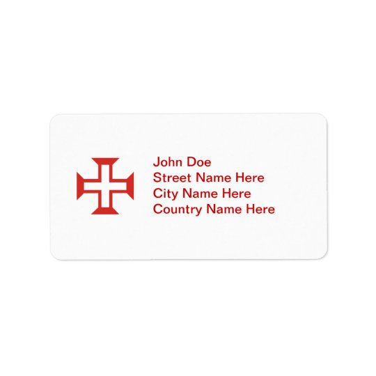 Red Templar Cross Address Label
