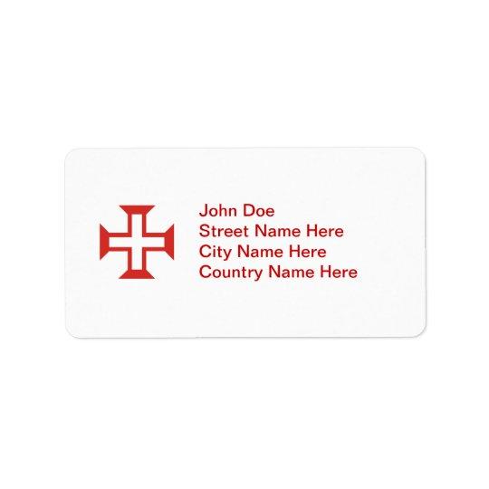 Red Templar Cross Label