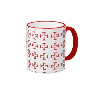Red Templar Cross pattern Mugs