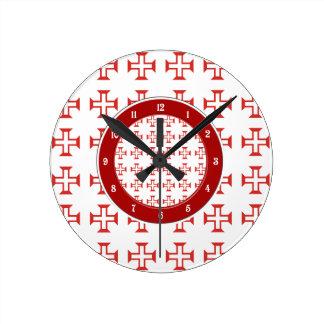 Red Templar Cross pattern Round Clock