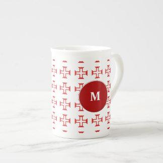 Red Templar Cross pattern Porcelain Mug