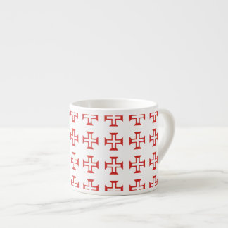 Red Templar Cross pattern Espresso Cups