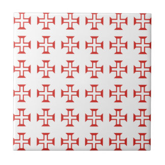 Red Templar Cross pattern Tile