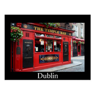 Red Temple Bar pub in Dublin card with text