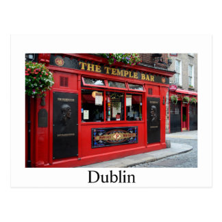 Red Temple Bar pub in Dublin postcard with text