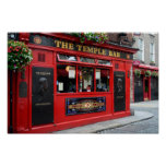 Red Temple Bar pub in Dublin poster