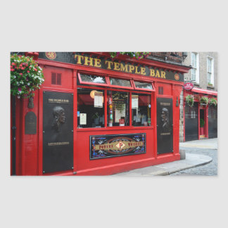 Red Temple Bar pub in Dublin Rectangular Sticker