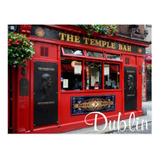 Red Temple Bar pub in Dublin text postcard