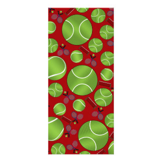Red tennis balls rackets and nets rack cards