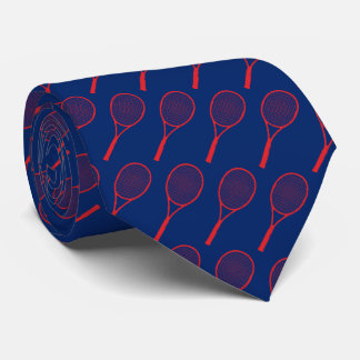 red tennis racquets on blue tie