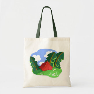 """Red tent in summer forest"" bag"