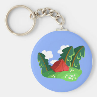 """Red tent in summer forest"" keychain"