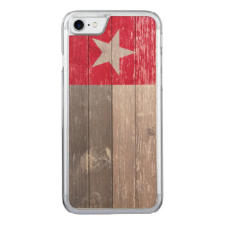 Red Texas Flag Painted Old Wood Carved iPhone 8/7 Case