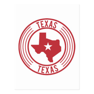 Red Texas Map White Star in Circle Postcard