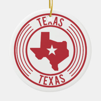Red Texas Map White Star in Circle Round Ceramic Decoration