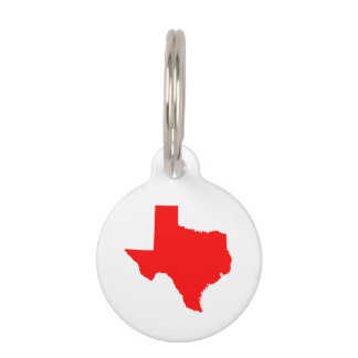 Red Texas Pet ID Tag