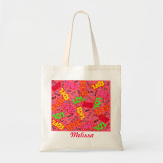 Red Text Art Symbols Words Budget Tote Bag