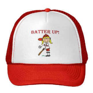 Red Text Batter Up Girls Softball Shirts and Gifts Cap
