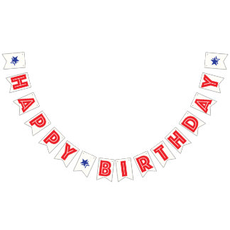 RED TEXT, WHITE BKGD, BLUE STARS ☆HAPPY BIRTHDAY☆ BUNTING