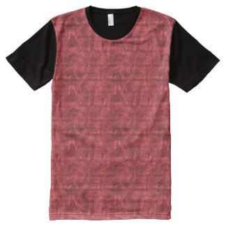 Red Textured All-Over Print T-Shirt