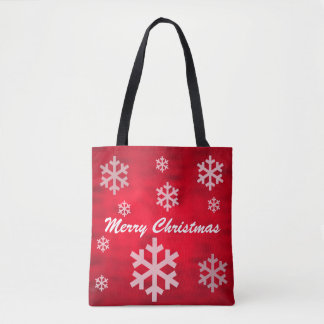 Red Textured Merry Christmas with Snowflakes Tote Bag