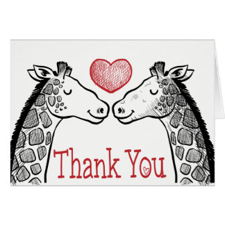 Red Thank You Black White Giraffe Wedding Love Card