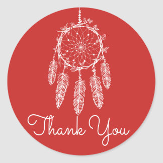 Red Thank You Dream Catcher Native American Classic Round Sticker