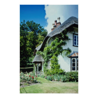 Red Thatched cottage, New Forest, England flowers Poster