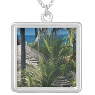 Red Thatched huts by the beach Nusa Dua Bali In Personalized Necklace