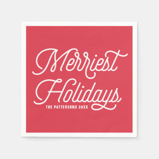 Red The Merriest Holidays Modern Christmas Disposable Napkins