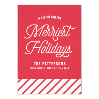 Red The Merriest Holidays Typography Flat Card
