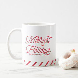 Red The Merriest Holidays Typography Personalized Coffee Mug