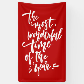 Red The Most Wonderful Time of the Year Lettering Banner