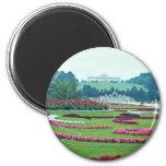 Red The Shonbrunn Castle, Vienna, Austria flowers 6 Cm Round Magnet