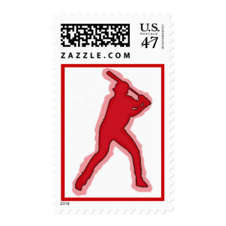 Red theme simple baseball player postage stamp
