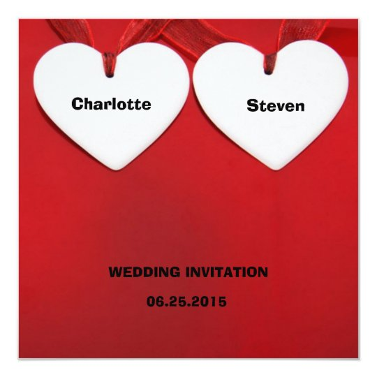 Red-Themed Whimsical Hearts Wedding-Related Event Card