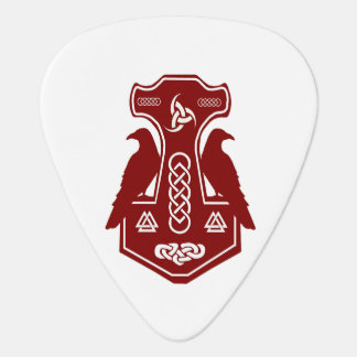 Red Thor's Hammer And Ravens Guitar Pick