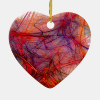 Red threads ceramic heart decoration