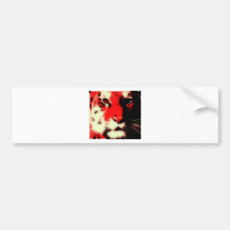 Red Tiger Face Bumper Sticker