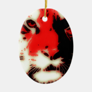 Red Tiger Face Christmas Ornament