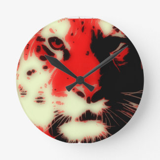 Red Tiger Face Round Clock