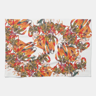 Red Tiger Lily Flowers Floral Kitchen Towel