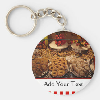 Red Tile Desserts Basic Round Button Key Ring