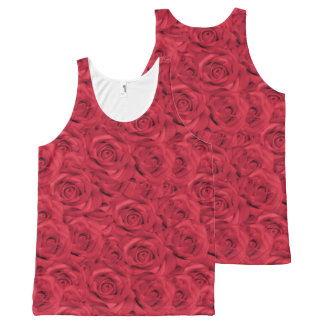 Red Tiled Roses All-Over Print Tank Top